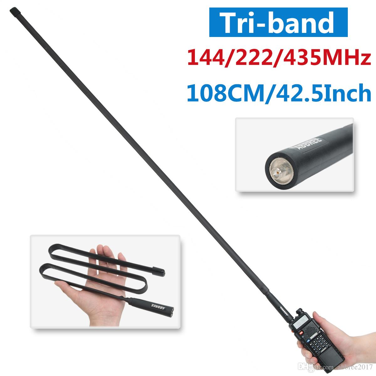 Antena tática ABBREE Tri-band 144/222 / 435Mhz SMA-Female para Baofeng BF-R3, UV-82T, UV-5RX3, UV-82X3, BTECH UV-5X3 Walkie Talkie