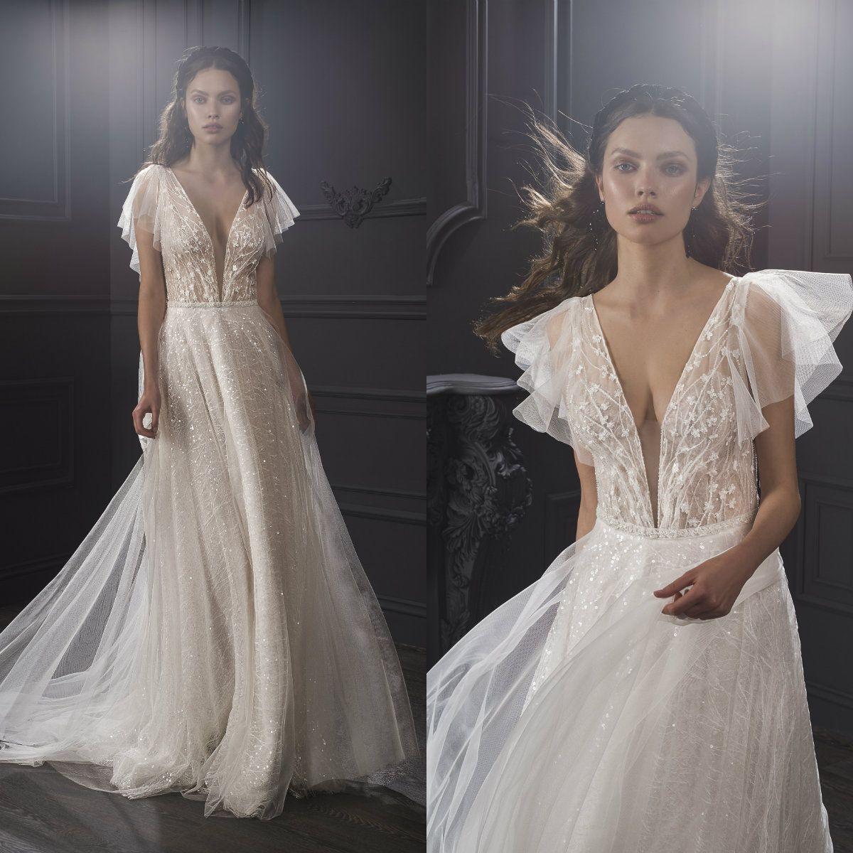 2019 Lihi Hod Boho Wedding Dresses Deep V Neck A Line Sequins Shinny Cheap Bohemian Wedding Dress Custom Made Plus Size Bridal Gowns