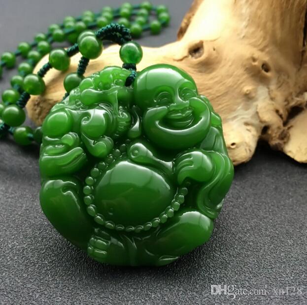 خرز جايد مايتريا خضراء طبيعية قلادة قلادة سحر ... ... ملحقات أزياء الموضة ... ... المحفور يدويا بوذا هدية تميمة