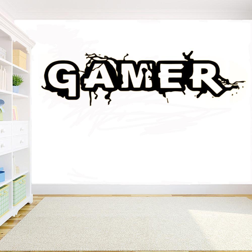 Muro Gamer Word Game Etiqueta Room Decoration Art Vinyl Mural Decalque Wallpaper Início decoração para o quarto dos miúdos adesivos DIY