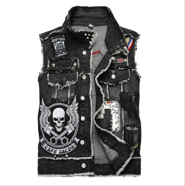 2019 Mens Punk Denim chalecos Negro cráneo bordado dril de algodón del chaleco de ajuste delgado de moda los pantalones vaqueros sin mangas del chaleco de la chaqueta masculina Tops J2868