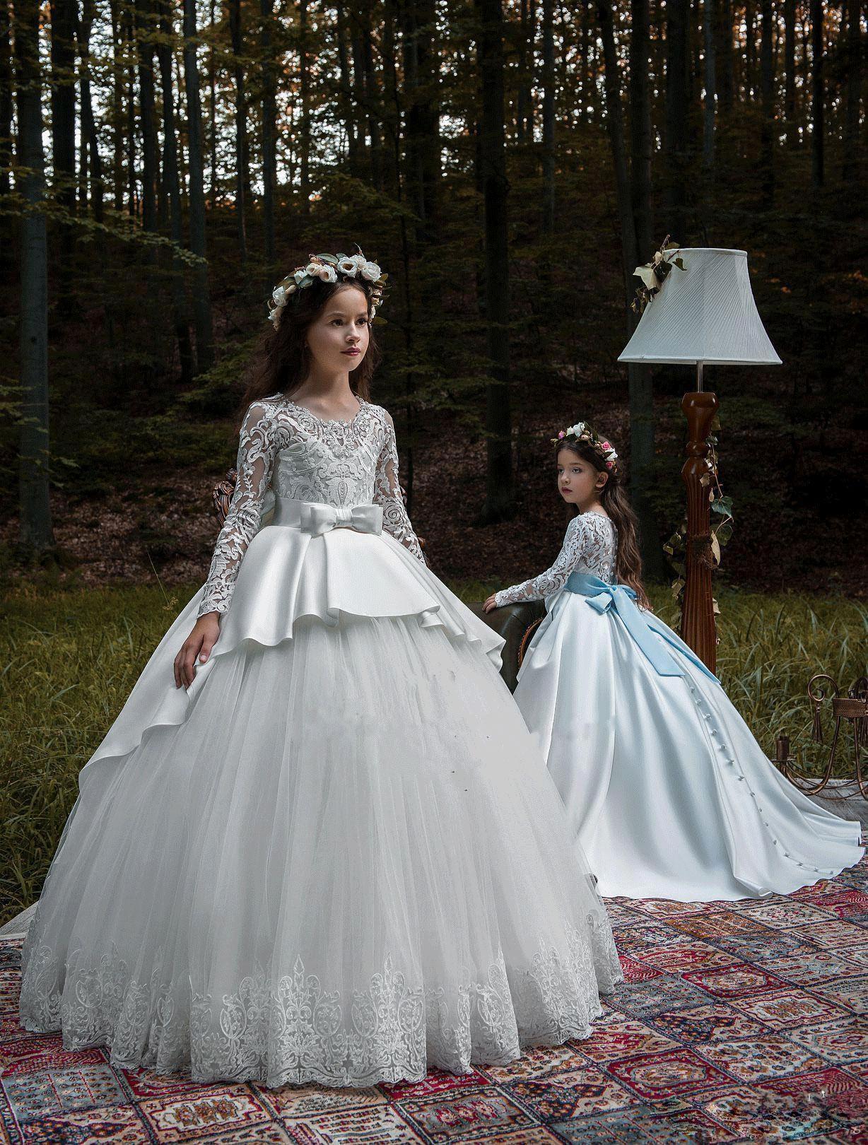 Nuevos vestidos de niñas de flores para bodas de dama de honor de princesa Vestido de fiesta Tren de barrido Vestido de primera comunión de niña barata TF01