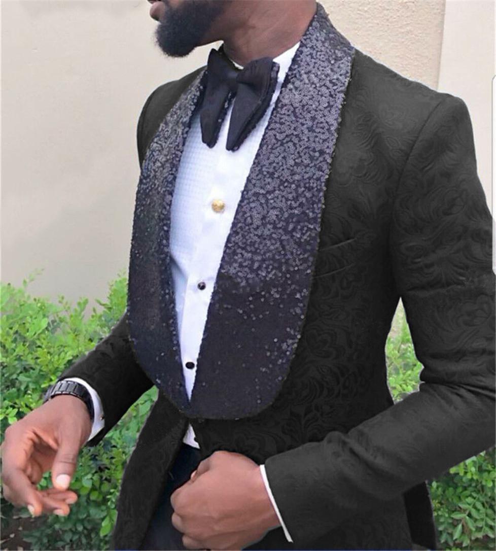 Heiße verkauf Groomsmen Schal Revers Bräutigam Smoking One Button Männer Anzüge Hochzeit / Prom / Abendessen Bester Mann Blazer (Jacket + Pants + Tie) K412