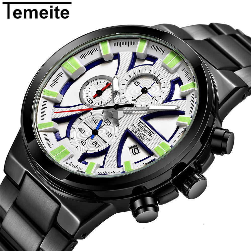 Мужской наручные часы Стальной лист Довести Человек наручные часы Больше времени Таблица движения кварцевые мужские спортивные механические часы мужчины мастер Подлинная Горячая продажа