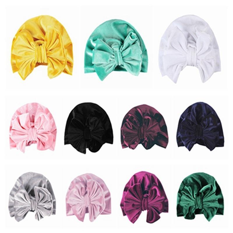 Bandeau de velours doré version mise à jour du chapeau de bébé nouveau-né bébé fille doux mignon turban noeud chapeau lapin hôpital