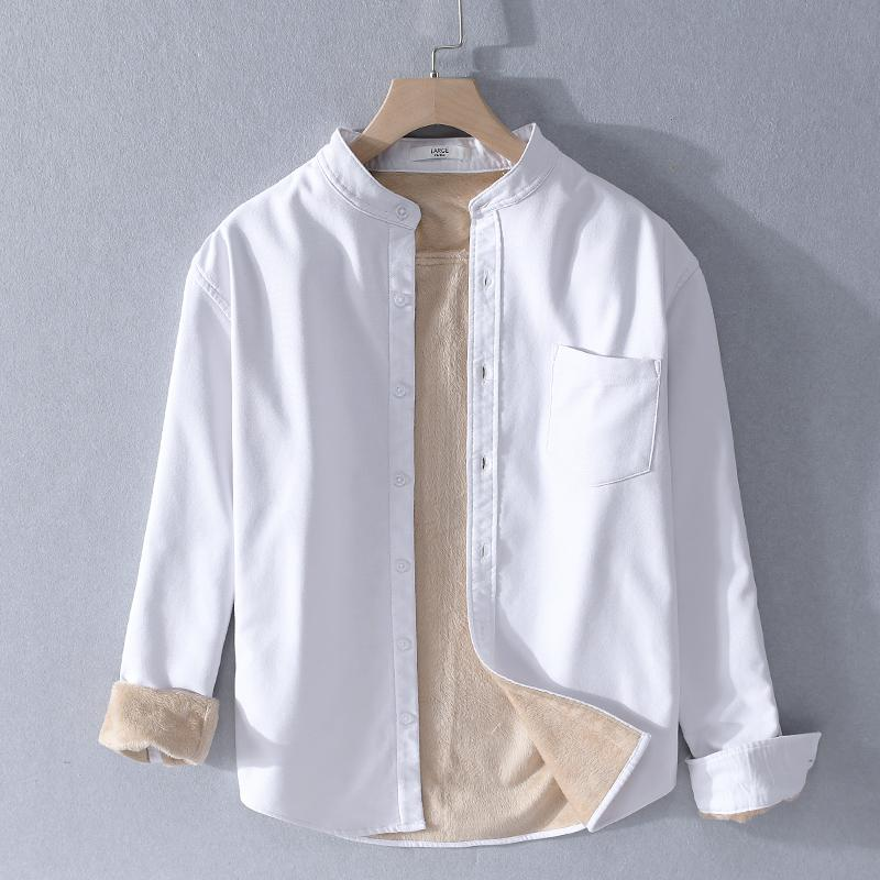 2019 inverno mais veludo homens outono e quentes ocasional camisa carrinho colarinho camisas de algodão grosso para homens camisa marca de mangas compridas