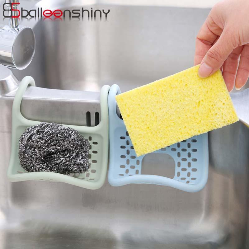 BalleenShiny Kitchen Sink rack de armazenamento Sponge Titular Bathroom Wall Saboneteira Fold Ferramentas TPR armazenamento de suspensão Filtro Organizer