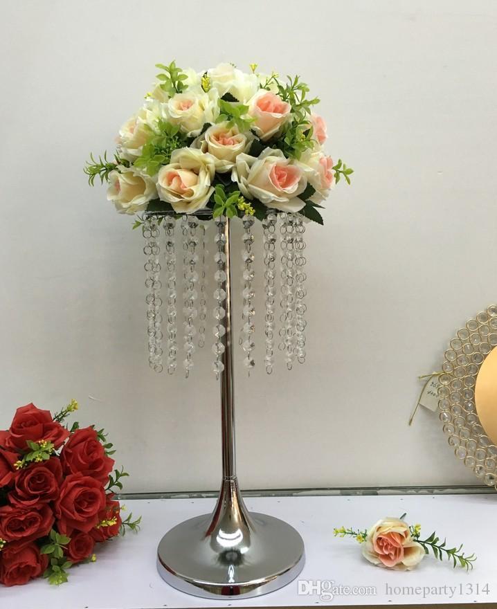 Metal vaso de flor de cristal de casamento de exibição bola Table Centerpiece Evento Festa Flor cremalheira Estrada castiçais de chumbo cremalheira Stands Decoração