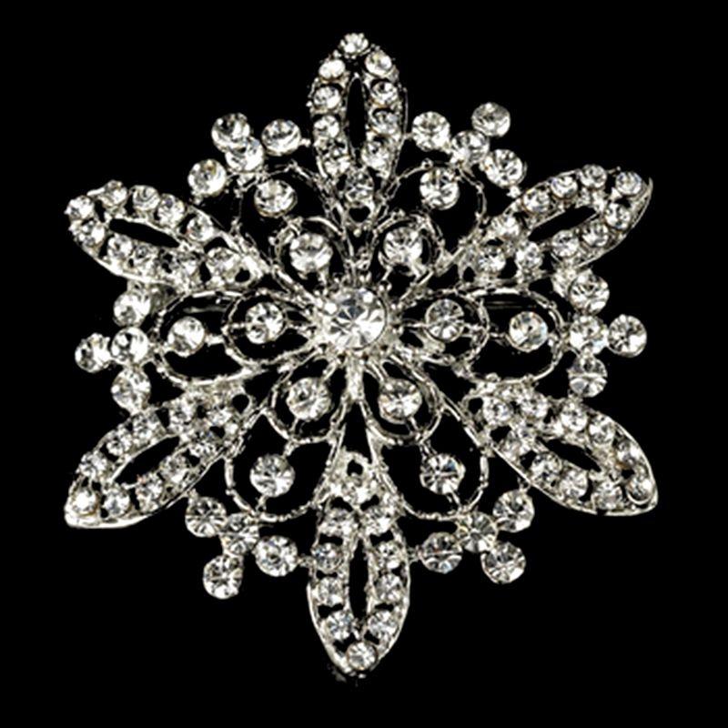 2,2 Zoll klarer Strass Kristall Diamante Blume Hochzeit Bouque Brosche