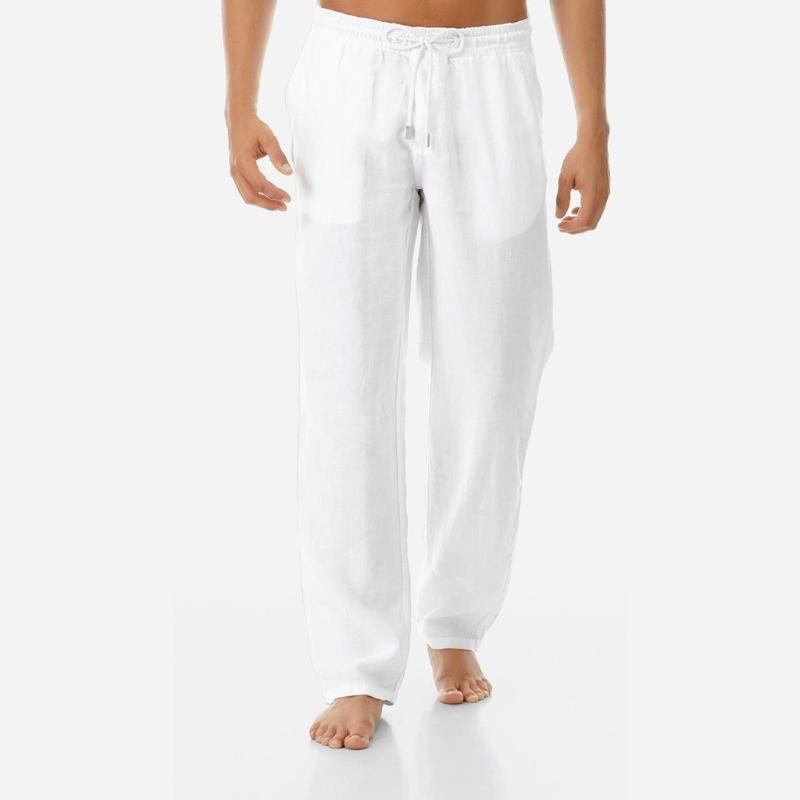 Erkekler Yaz Casual Pantolon Doğal Pamuk Keten Pantolon Keten Yeni Stil Basit Ve Şık Elastik Bel Düz Erkekler Pant
