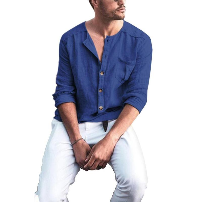 Men's Casual Shirts 2021 Men Tops And Blouses Long Sleeve Solid Loose Shirt Button Down Cotton Linen Blouse Top