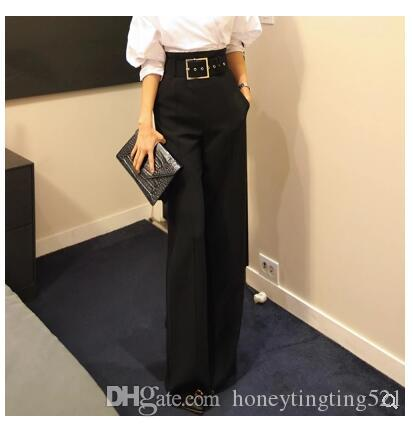 2019 nuove donne di moda coreana con cintura a vita alta OL lavoro di colore nero sciolto gamba larga pantaloni lunghi pantaloni più taglia S M L XL XXL