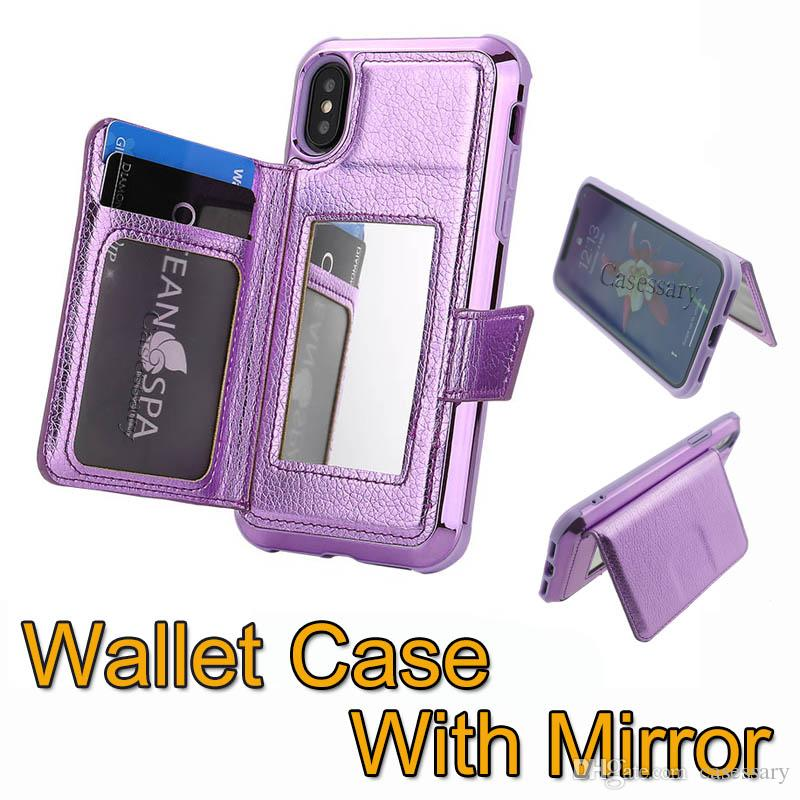Luxury Wallet Cases With Credit Card Slots and Makeup Mirror Phone Cases for iPhone 7 8 X XR XS MAX Samsung S10 Plus