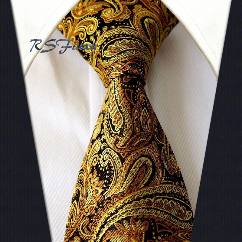 New Classic Florals Gold Black JACQUARD WOVEN 100/% Silk Men/'s Tie Necktie