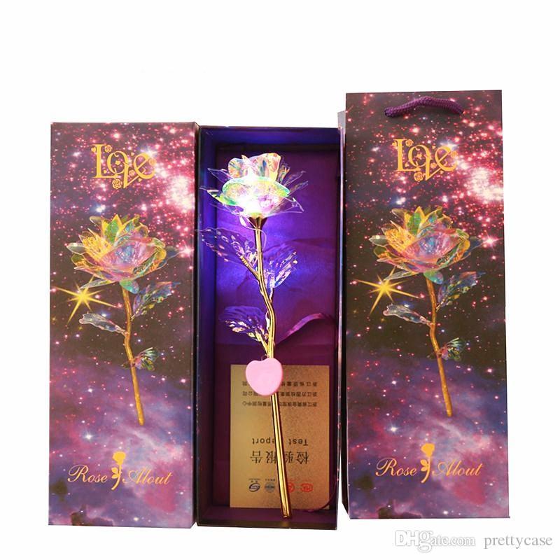يعرض روز الاصطناعي هدايا وهمية الزهور الورود للمرأة LED البلاستيك الخفيف زهرة عيد ميلاد الذكرى خطوبة هدايا
