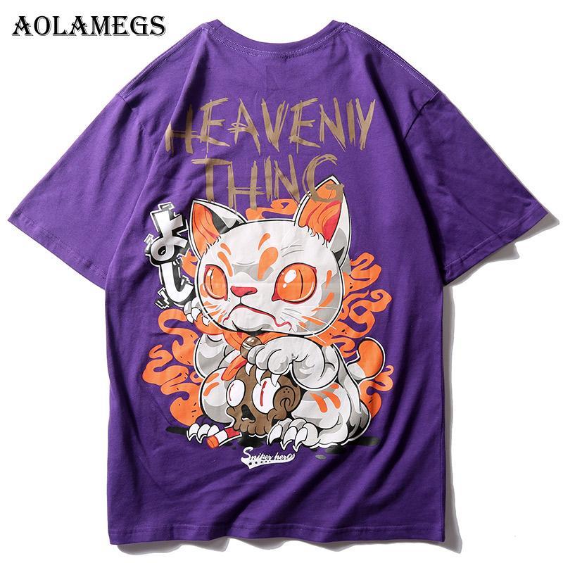 Aolamegs T Shirt Men The Cute Cat Print Men's Tee Shirts Short Sleeve T Shirt Casual Fashion High Street Tees Hip Hop Streetwear CX200613