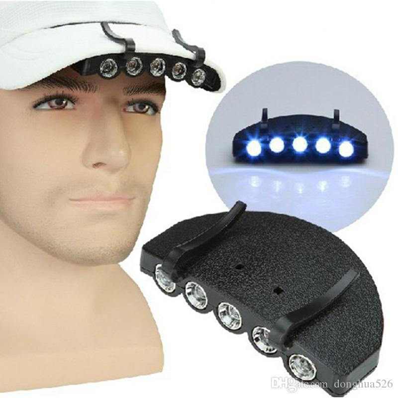 Night Safe Clip-on 5 Leds Head Cap/Hat Brim Light Fishing Camp Hunting Outdoor Lighting Head Lamp Torch