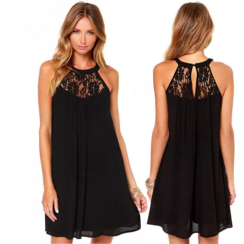 black halter dress summer knee-length sleeveless empire o-neck off the shoulder women broadcloth pleated dresses robe summer
