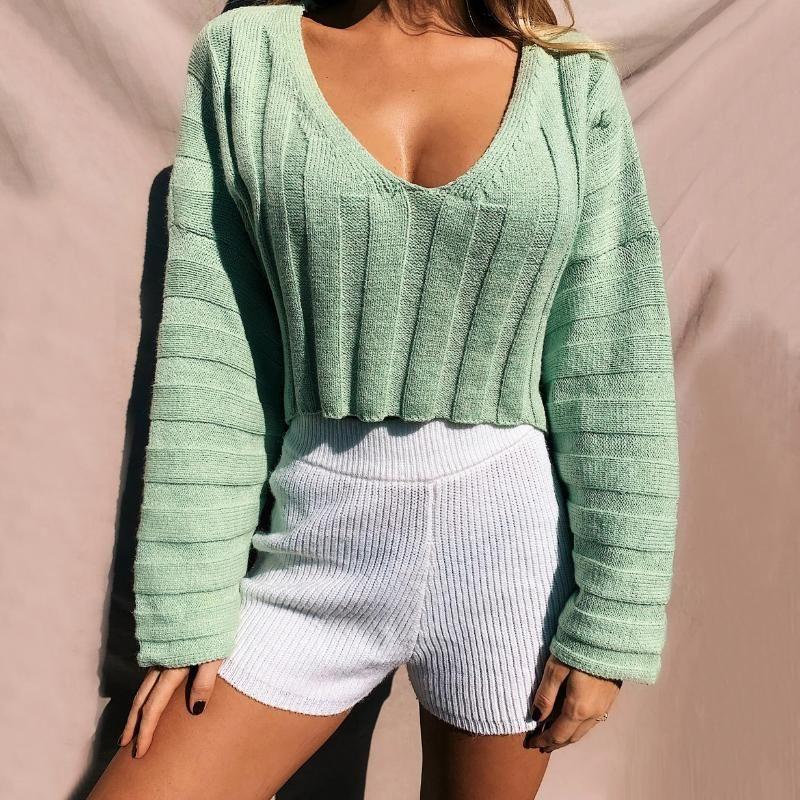 2020 мода сладкий короткий свитер женщин вязаный сексуальный сплошной цвет и с V-образным вырезом свитер высокой улицы V-образным вырезом полные пуловеры Корейский