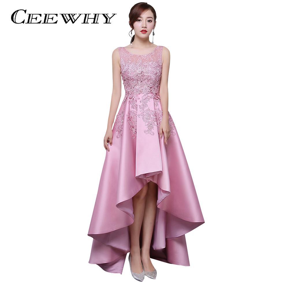 Großhandel Ceewhy Candy Farbe Asymmetrische Abendkleid Kurze Vordere Lange  Hintere Spitze Satin Kleid Elegante Formale Party Kleid Abendkleider