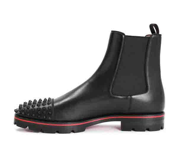 Hot Sale-Fashion Top Men Boots Red Bottom Design Men Ankle Boots Low Heels Leather Suede With Rivets Melon Spikes Flat Short Knight