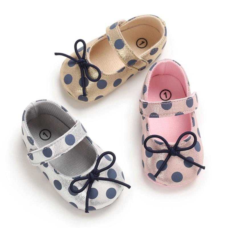 0-18 Months Newborn Baby Girl Shoes Toddler Girl Princess Baby Shoes Bowknot Polka Dot Flower Soft-Soled Crib
