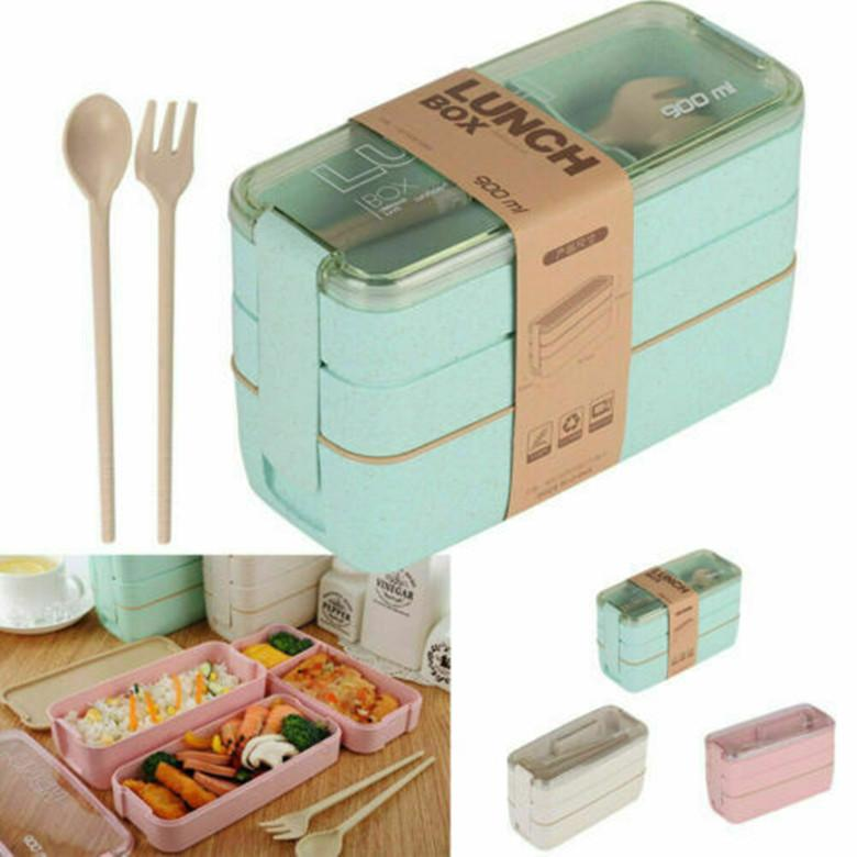Portátil 3 Camada Lunch Box Colher Louça Bento Box Food Storage Container Microwave 900ml