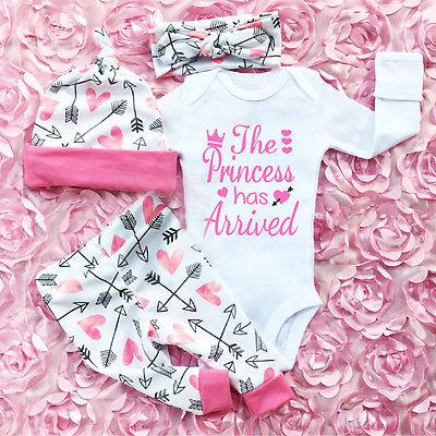 Pudcoco Girl Suits 3PCS Newborn Infant Baby Girls Clothes Playsuit Romper Pants The Princess Has Arrived Outfit Set