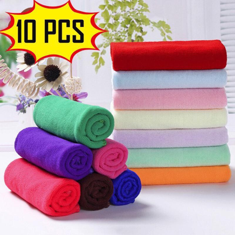 10Pcs Microfiber Cleaning Cloth Towel Hand Face Washing Cloth Microfiber Wash Cloth Household Kitchen Towels Car Wash Product 25*25cm