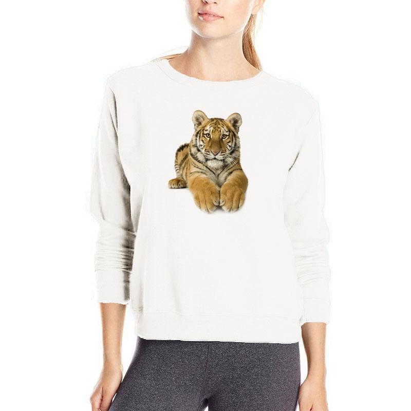 Tigre 3D impresión sudadera de manga larga de algodón streetwear moda kpop sudaderas con capucha de las mujeres venta barata de algodón ropa sudor femme