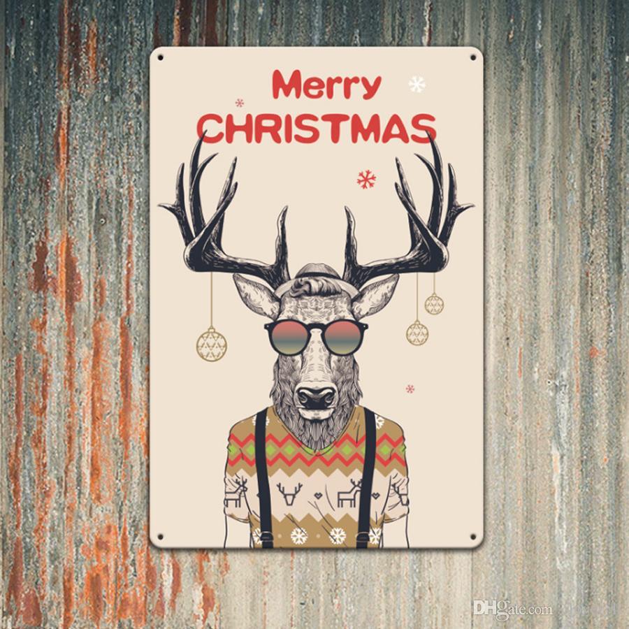 4PCS يوم عيد الميلاد الظبي ريترو معدن القصدير علامات خمر ملصقات المعادن البلاك قديم حائط المنزل جدار الفن عيد الميلاد ديكور الفن صور