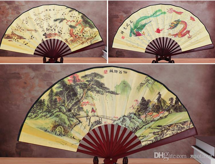 Ethnic Traditional Chinese Silk Fan Large Decorative Folding Fans Craft printed Bamboo Hand Fan for Man Gift