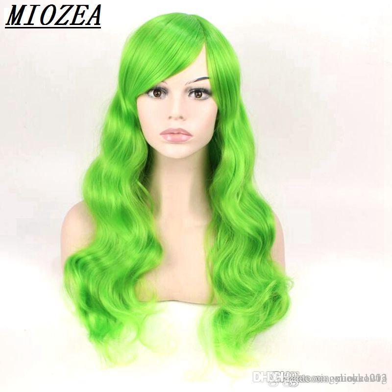Зеленый Синтетический Женщины парик длинные волнистые высокого волос температуры волокна для косплей парик 24inch Long