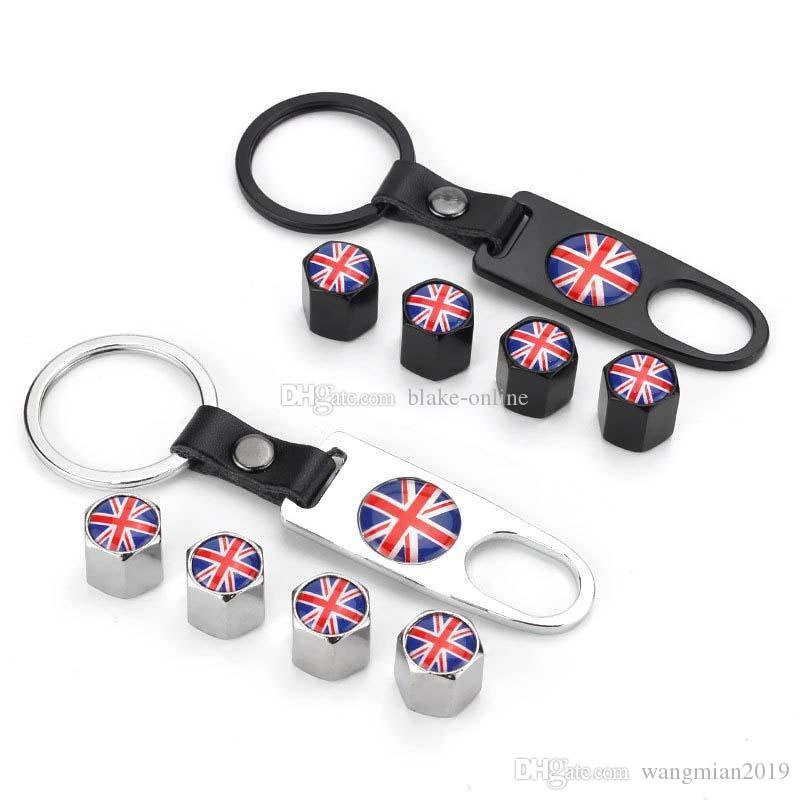 Car Tire Valve Caps Wheel Air Stems Dust Cover with Keychain Logo Emblem Car Styling for For BMW Mercedes Benz Audi VW Honda Mazda