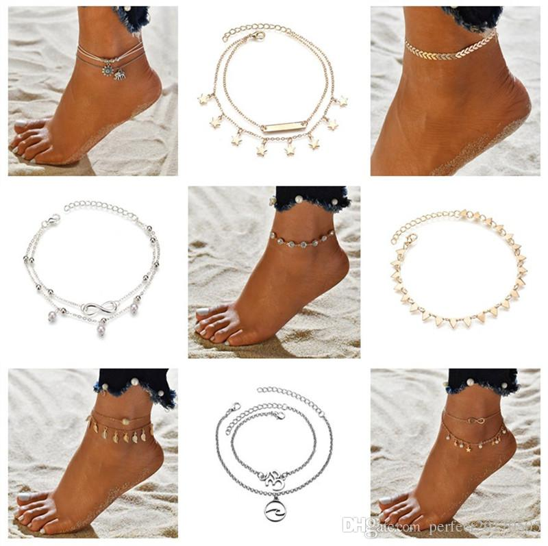 18 styles Summer Beach Turtle Shaped Charm Rope String Anklets For Women Ankle Bracelet Woman Sandals On the Leg Chain Foot Jewelry