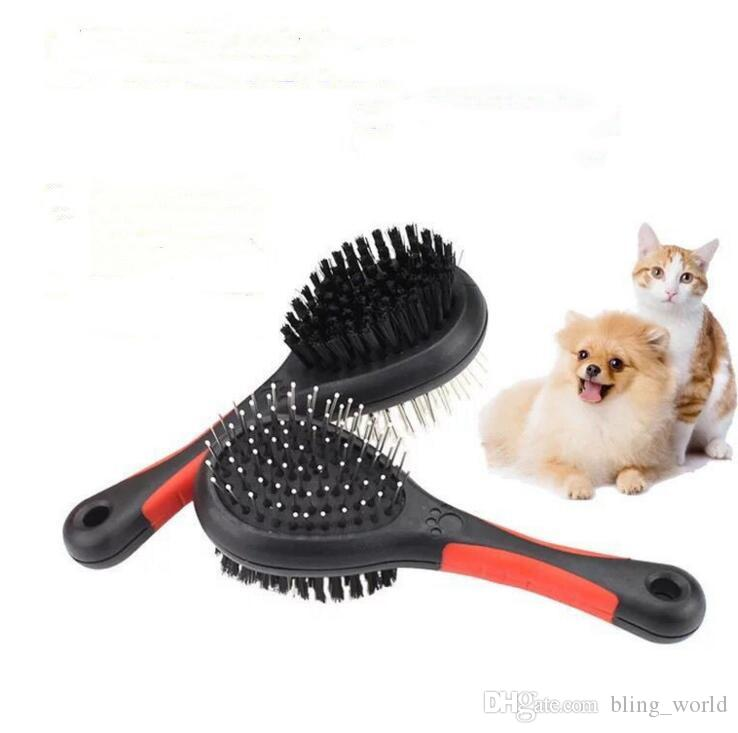 Köpek Saç Fırçası İki Taraflı pet Güzellik tarak Çift Taraflı Kedi Bakım Fırçaları Chien kürk Tırmıklar Araçları Iğne Ile Plastik Masaj Tarak cls179