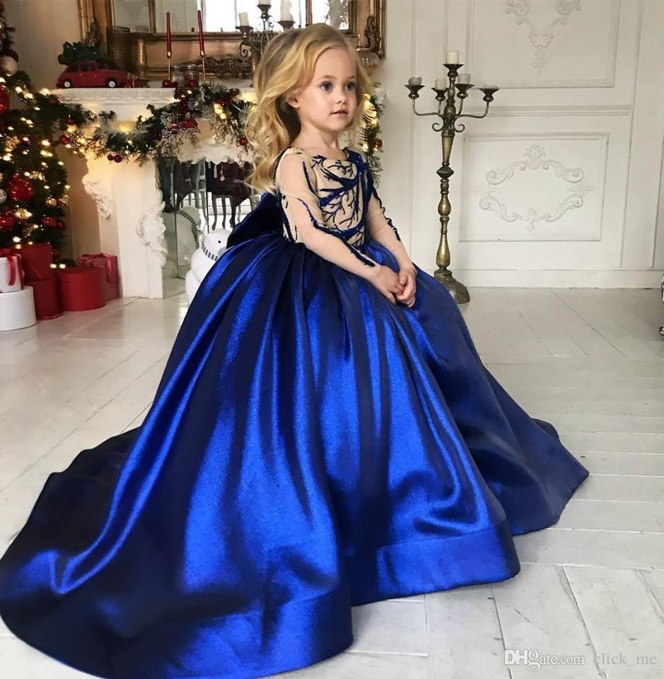 Royal Blue Long Sleeves Flower Girls Dresses Long Lace Appliques Formal Kids Girls Pageant Dress Satin First Communion Wear Party Dress