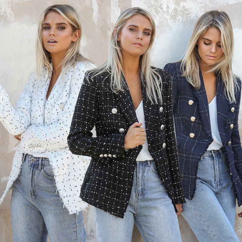 Womens Designer Blazer Plaid Imprimé luxe Manteaux Femmes Veste Lapel Neck Mode Slim dames Outwear Vêtements avec double boutonnage