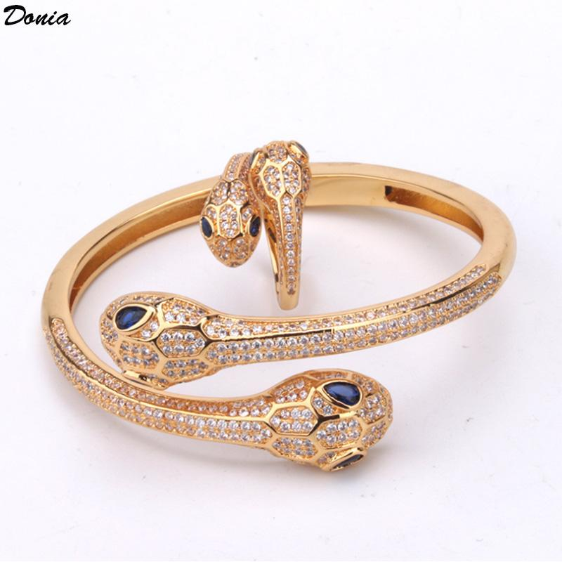 Dona gioielli Braccialetto di lusso europeo e americano moda esagerato occhi azzurri a doppia testa di serpente intarsiato zircone braccialetto anello set regalo