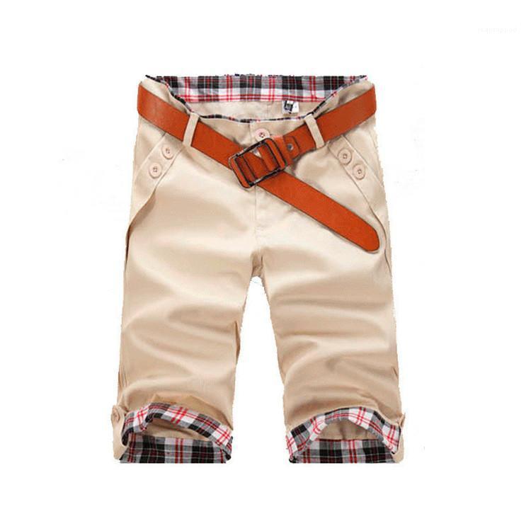 Katı Renk İnce Casual Erkek Şort Boru Patchwork Ekose Yaz Erkek Tasarımcı Şort Fermuar Cep Düğme Kısa Pantolon