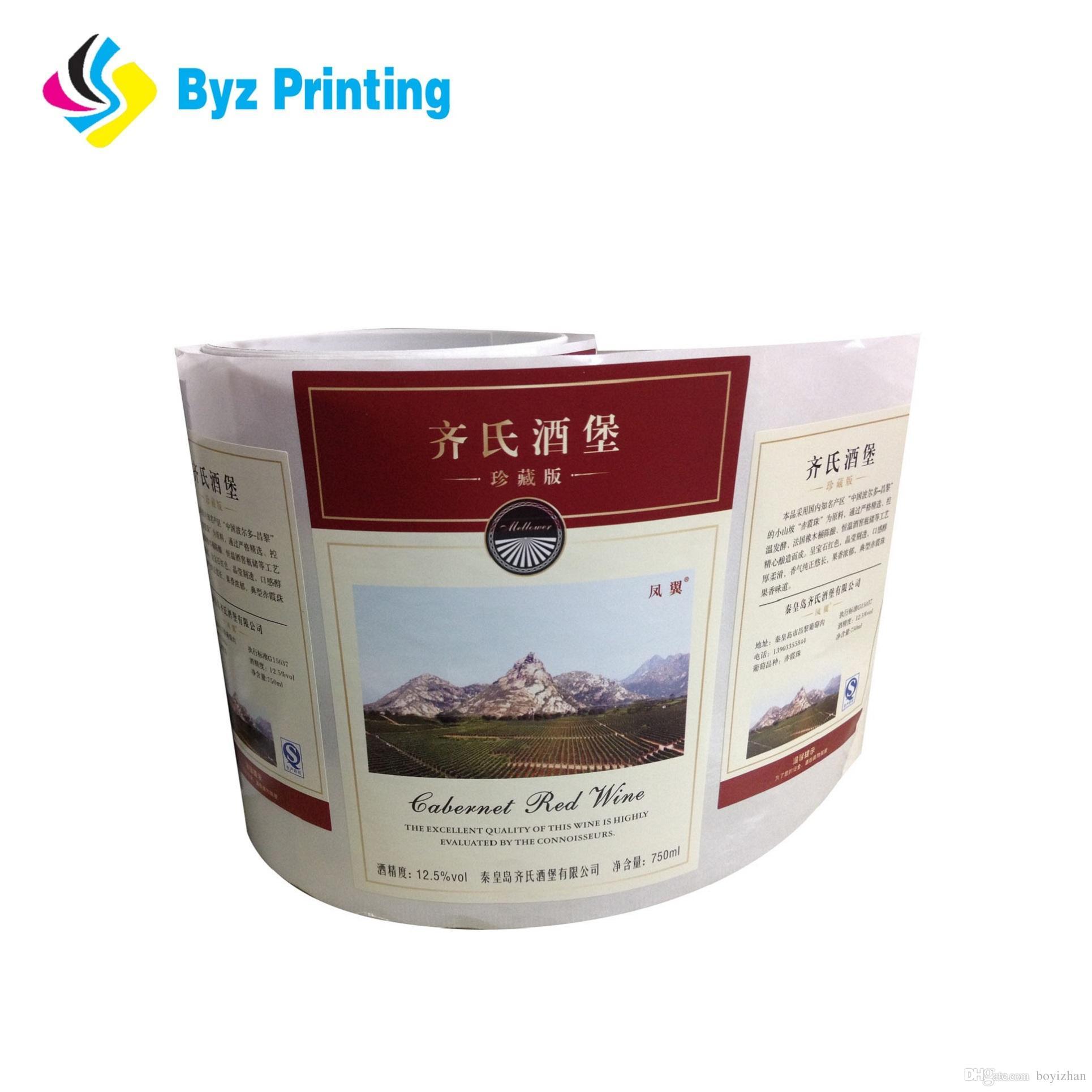 2019 Commercio all'ingrosso adesivo di vino di carta di carta, etichetta di bottiglia di succo, stampa di etichetta di etichetta di vaso