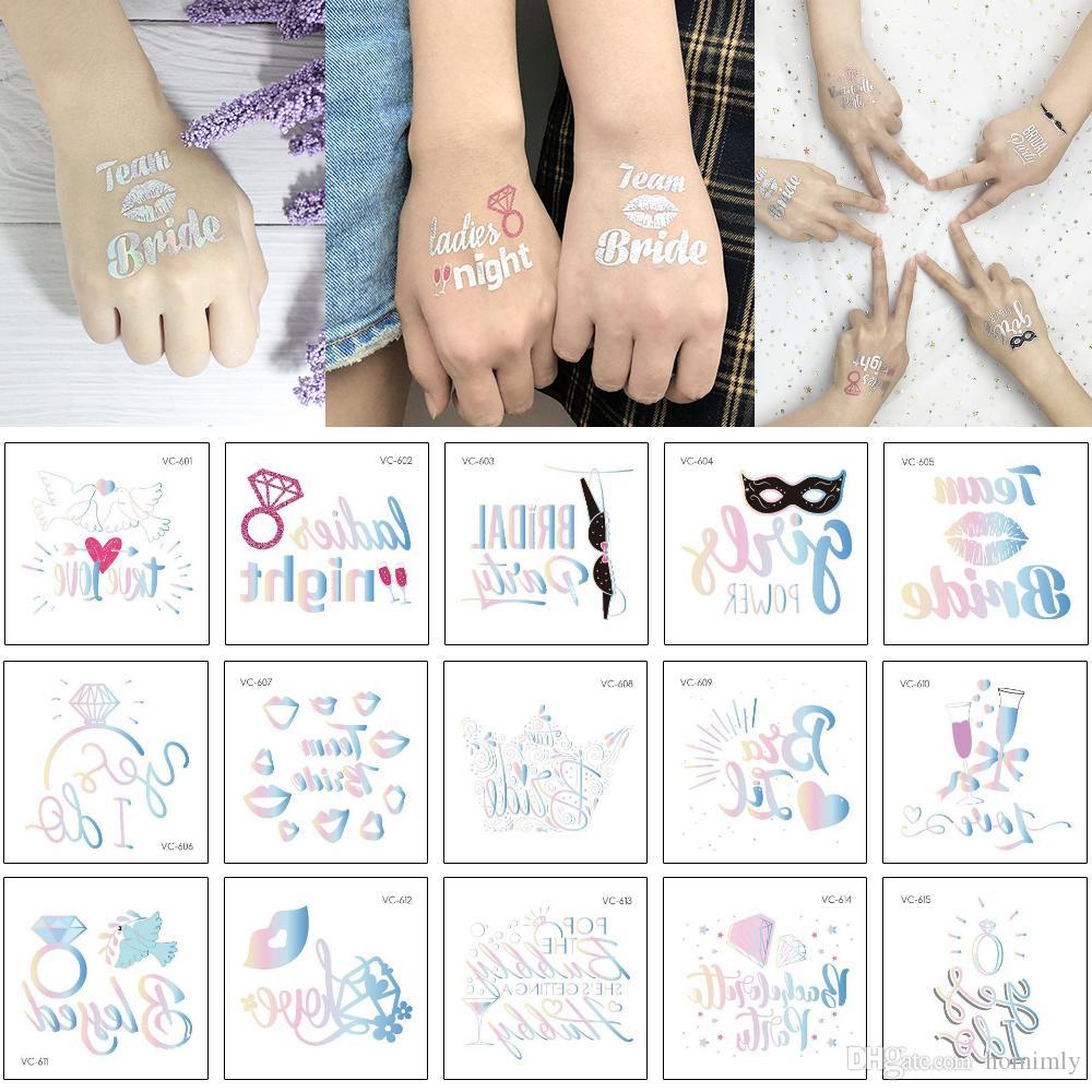 Лазерной Singer партии татуировка наклейка Металл Блеск Flash дизайн Команда невеста Свадебной Ladies Night Любовь Body Art Декалите Temporary Водонепроницаемых татуировок