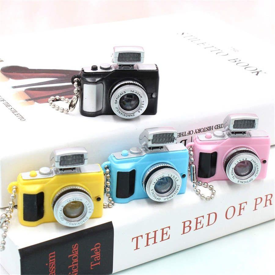 سلسلة المفاتيح ضوء LED الإبداعي طراز الكاميرا يمكن أن تكون مضيئة رئيسية سلسلة مفتاح سيارة هدية قلادة المفاتيح
