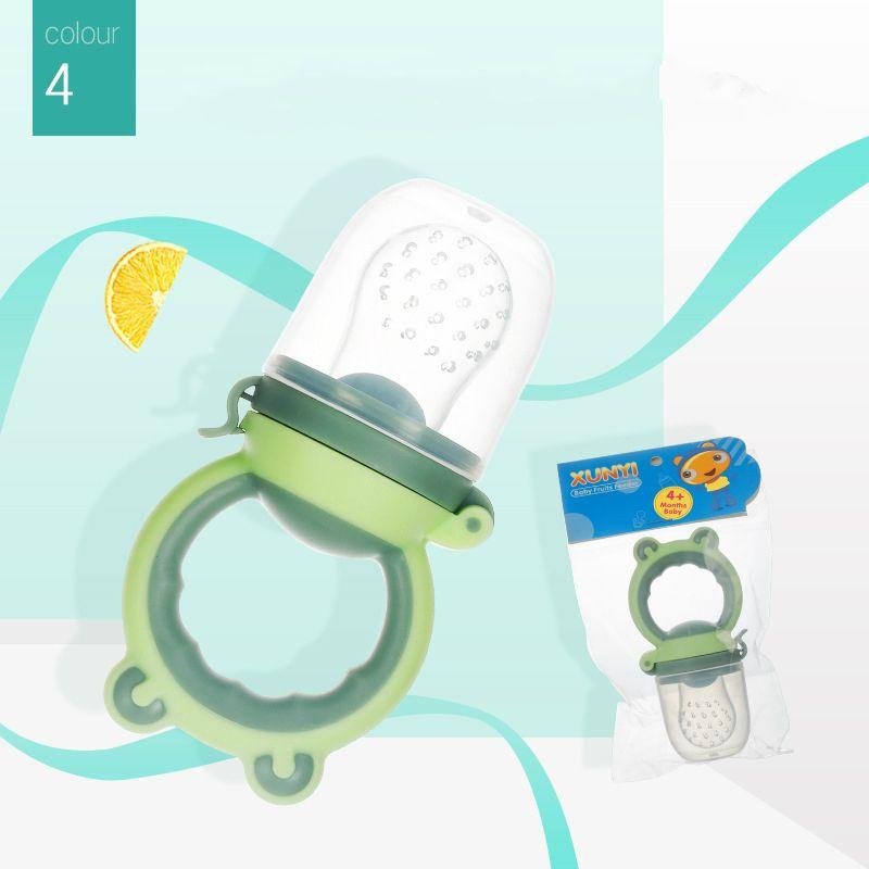 السليكوين الآمن يمضغ مصاصة تغذية حديثة الولادة متعددة الألوان حساء الفواكه الطازجة