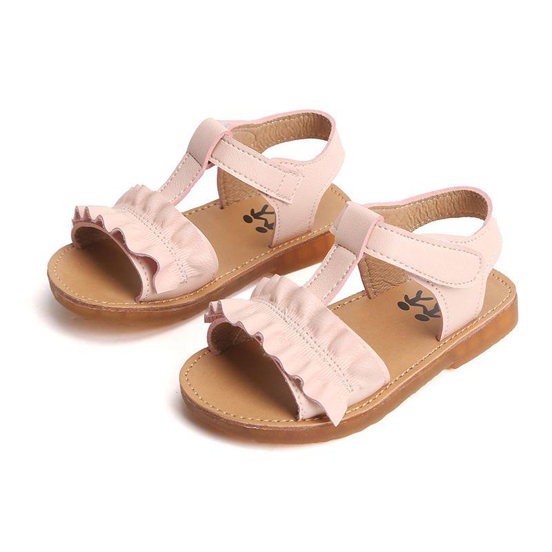 Kids Sandals Fashion Leather 2019 Summer Girls Sandal Ruffles Princess Shoe Anti-Slip Baby Sneakers Toddler For Girl