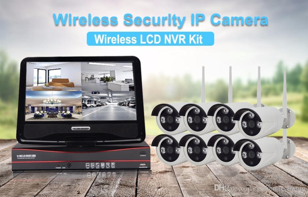 беспроводная наружная система безопасности записываемая WIFI NVR комплект с 10-дюймовым монитором 8 шт. 960P беспроводная IP-камера полный комплект