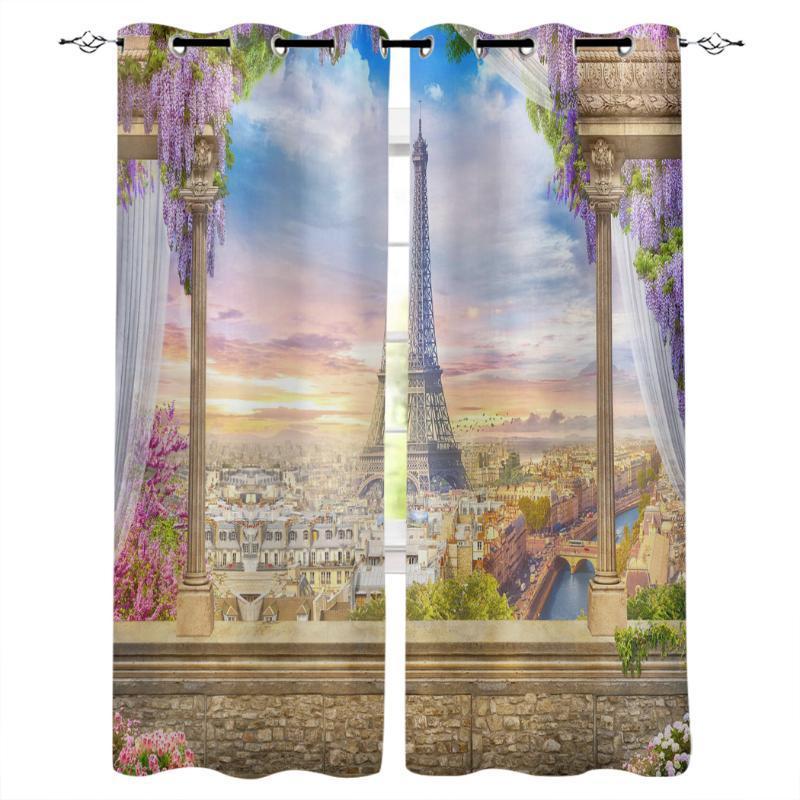 파리 아키텍처 테라스 꽃 룸 커튼 대형 창 커튼 거실 욕실 침실 주방 장식