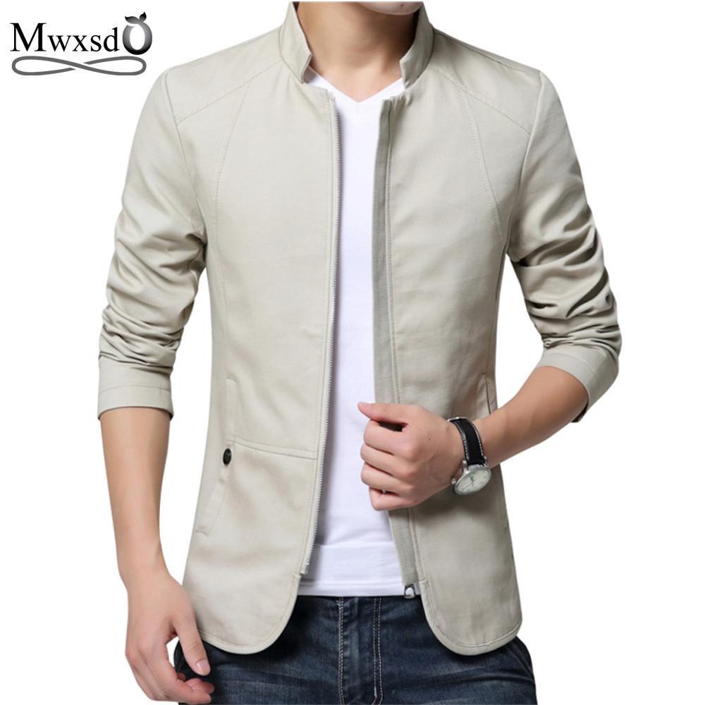 2019 marka erkekler bahar sonbahar rahat ceket erkek Slim fit pamuklu ceket ve ceket Erkek stander yaka ceket veste homme T5190617