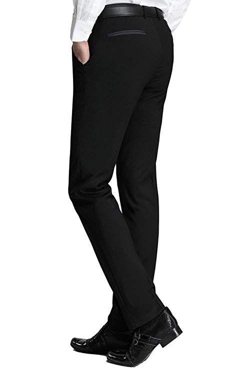 Pantaloni da sposa da uomo Black Separate Abito Abito da uomo Slim da uomo Pantaloni da uomo formale Business Slim-fit Bel Bel Bel Bellezza per Buss Flat-Front Buss MDAC
