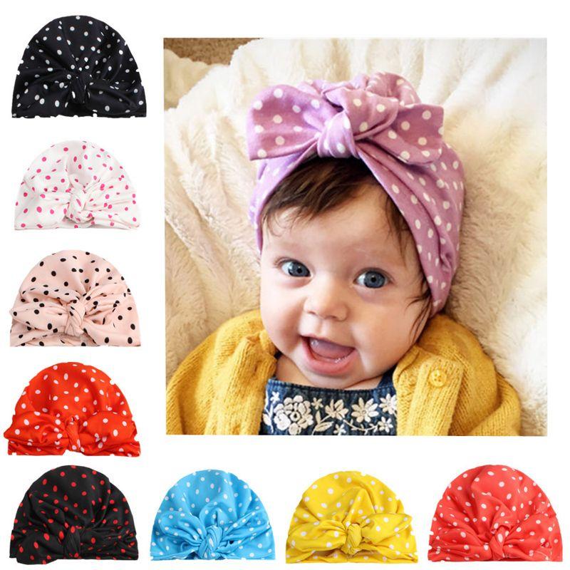 الطفل الرضيع قبعات بنات الوليد النقاط القوس التعادل قبعات أطفال أذن الأرنب فتاة مترهل بيني الجمجمة قبعات طفل رضيع الهدايا 6M-4T 06
